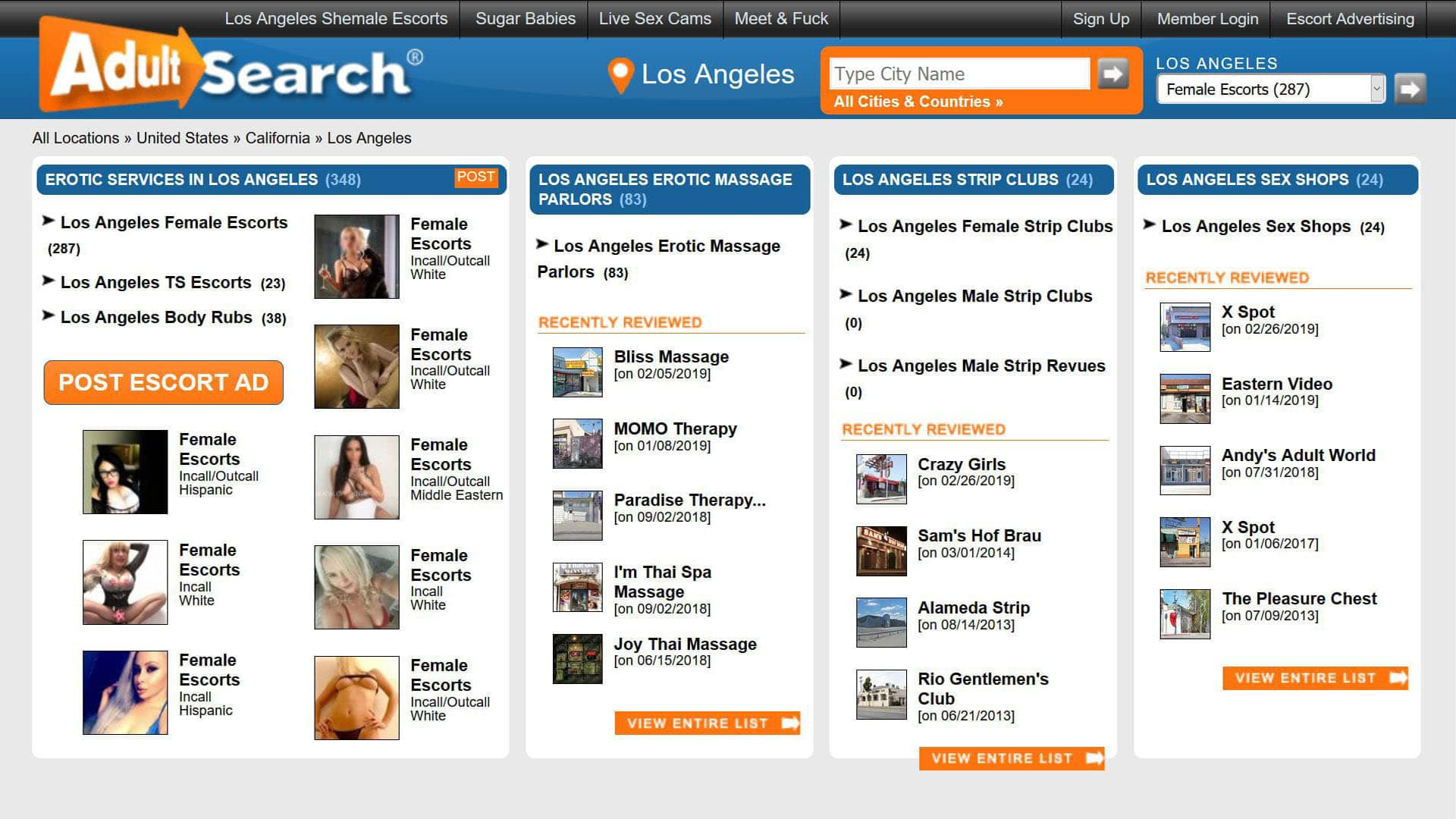 AdultSearch Los Angeles California