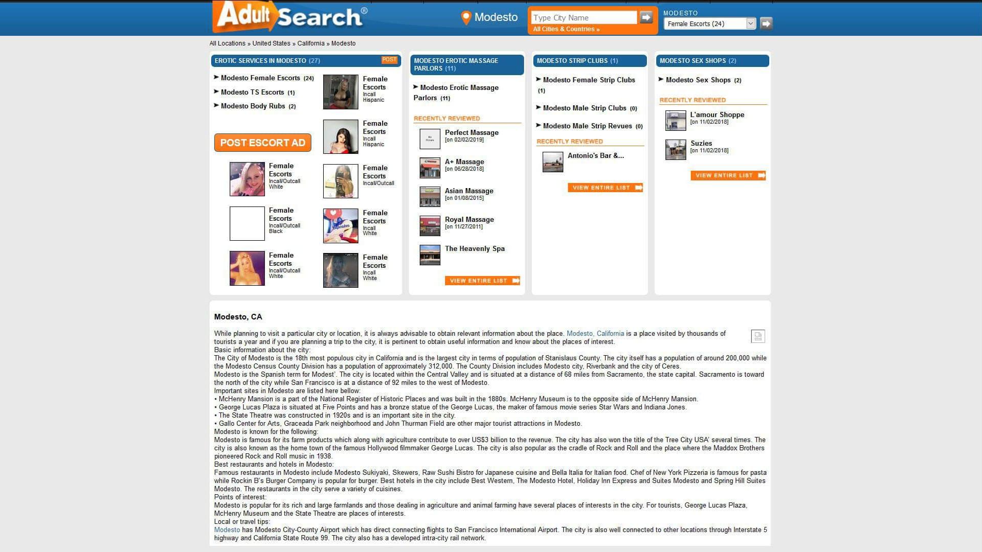 AdultSearch Modesto California