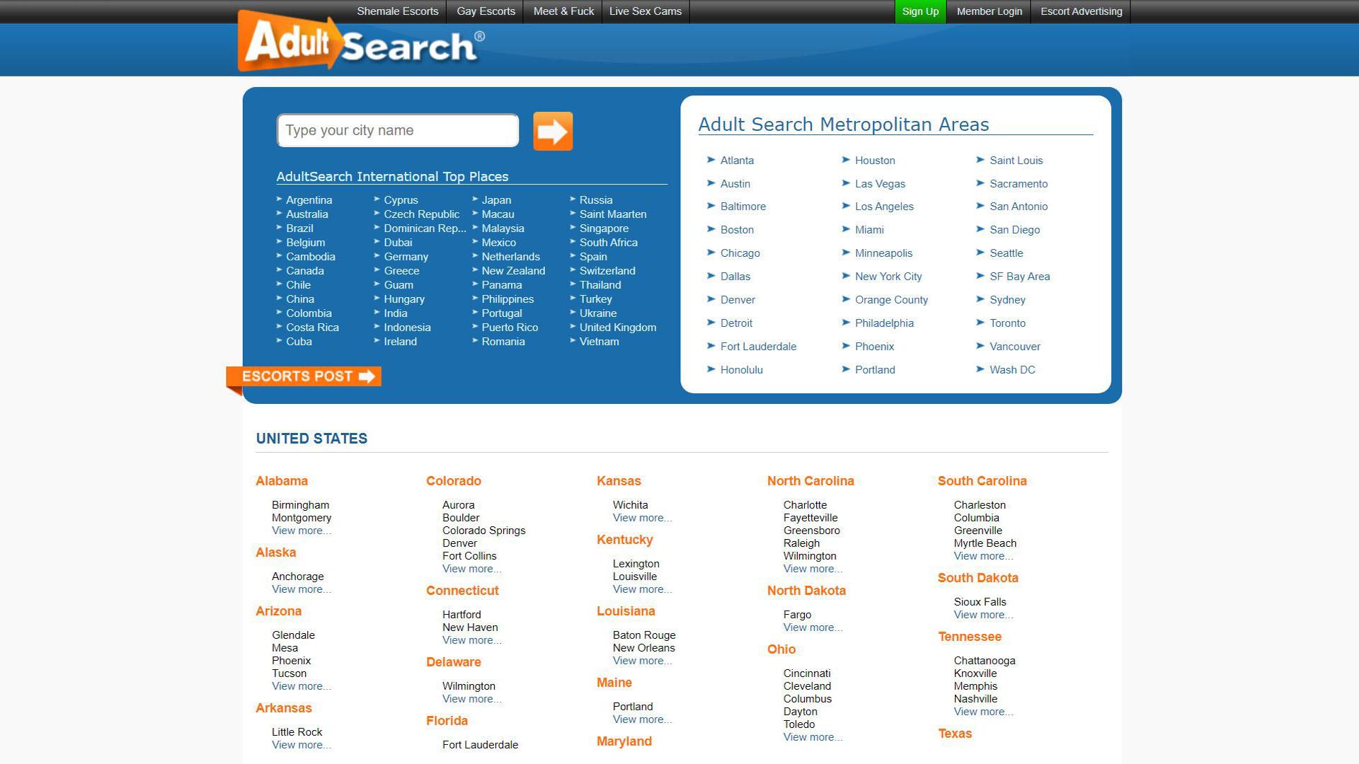 AdultSearch Main Page