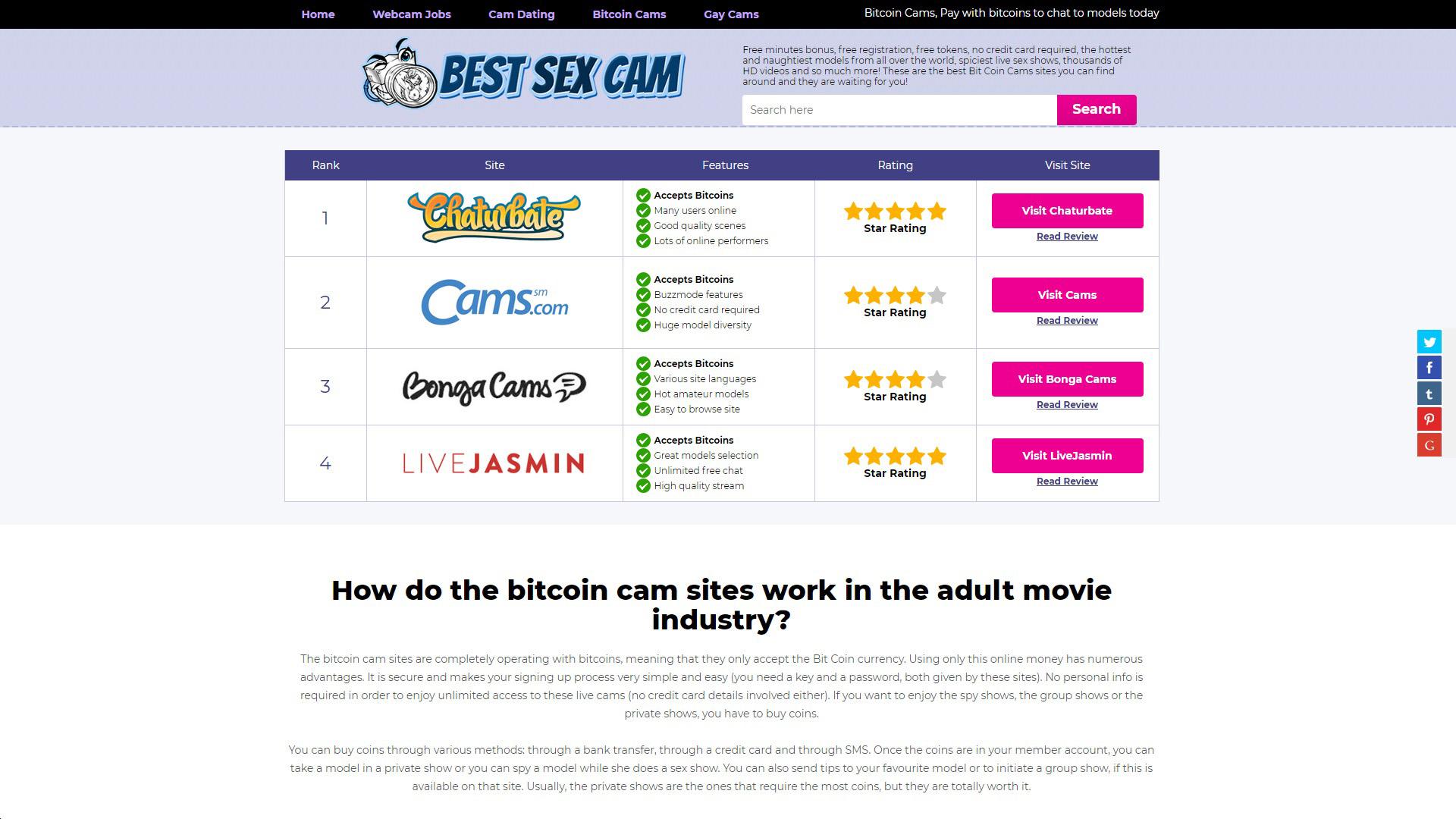 Best Sex Cam BitCoin Cams