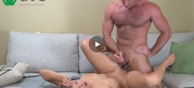 Blonde babe gets fucked by buff dude missionary
