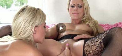 Blonde lesbian Nathaly fists MILF Britanny Bardot