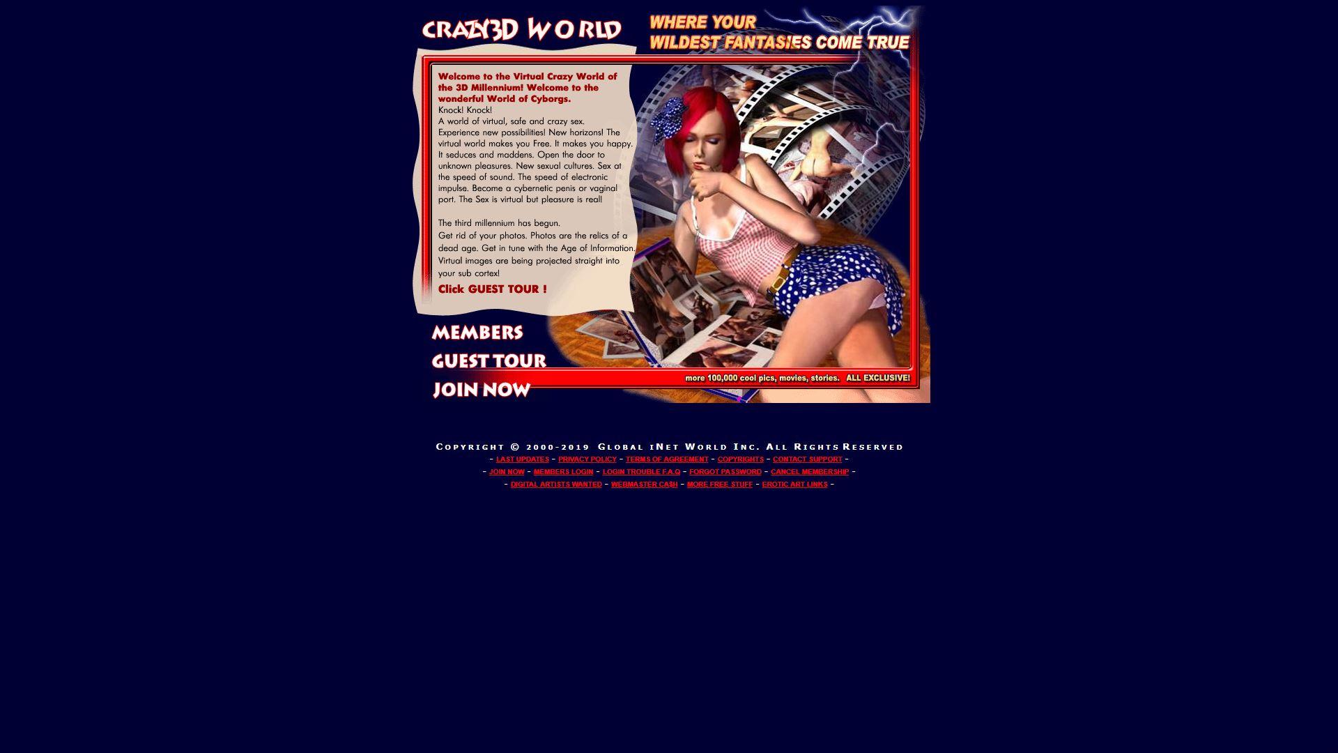 Crazy XXX 3D World Main Page