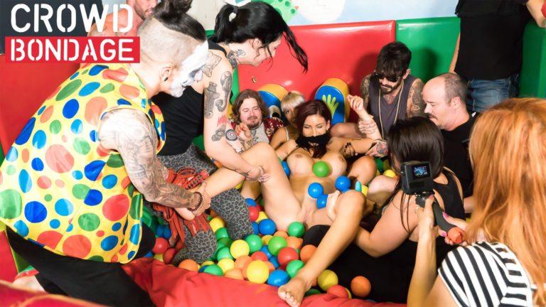 Crowd Bondage Ball Fuck Party