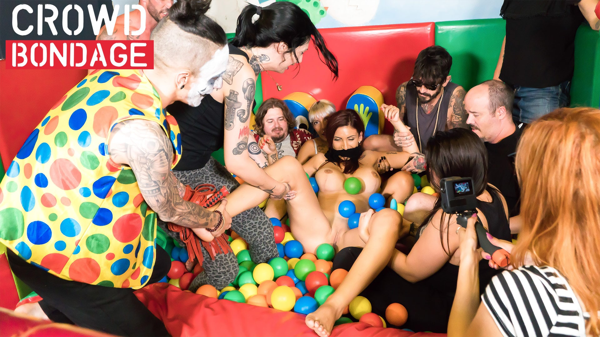 Crowd Bondage Ball Fuck Party
