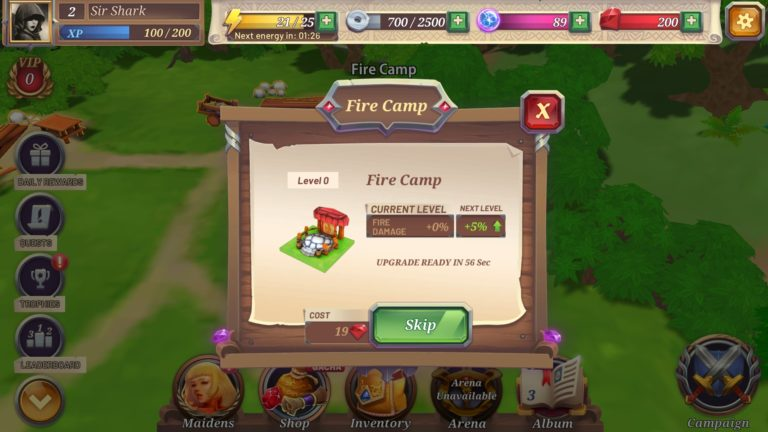 Crystal Maidens Upgrade Fire Camp