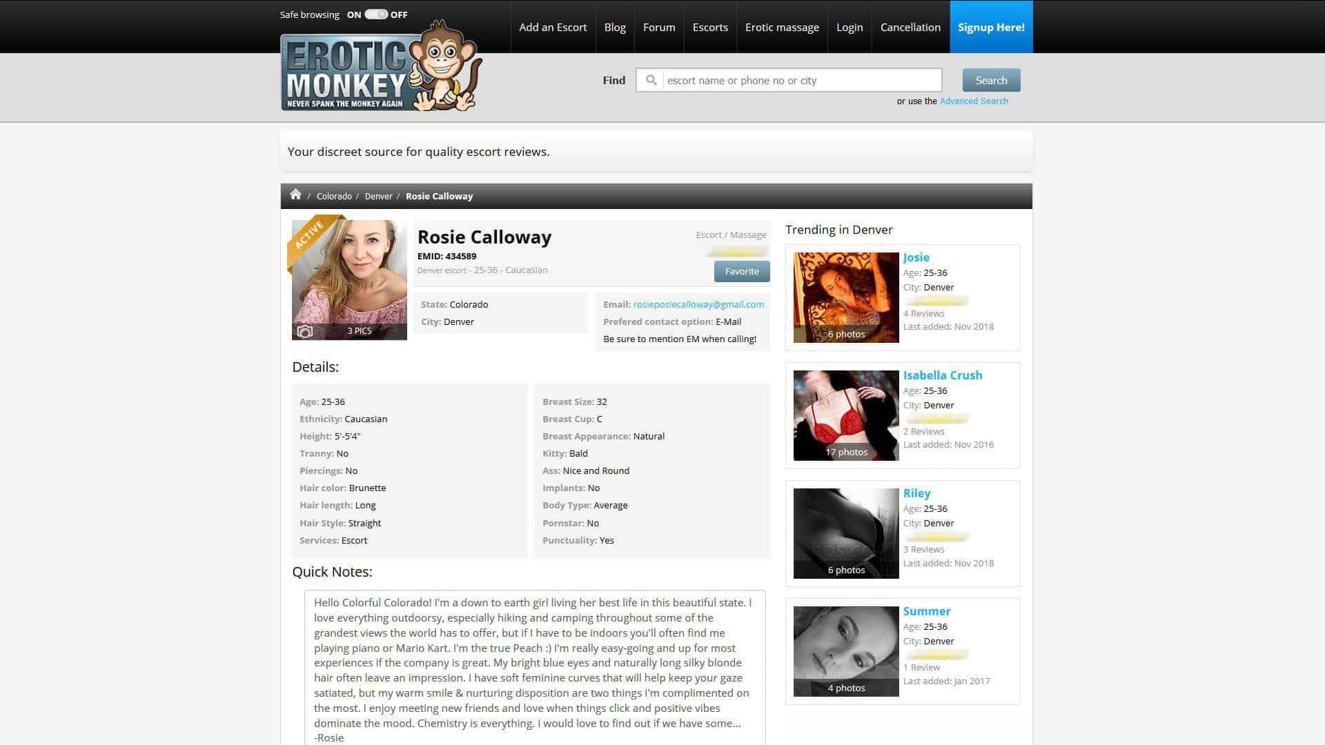 Erotic Monkey Rosie Calloway