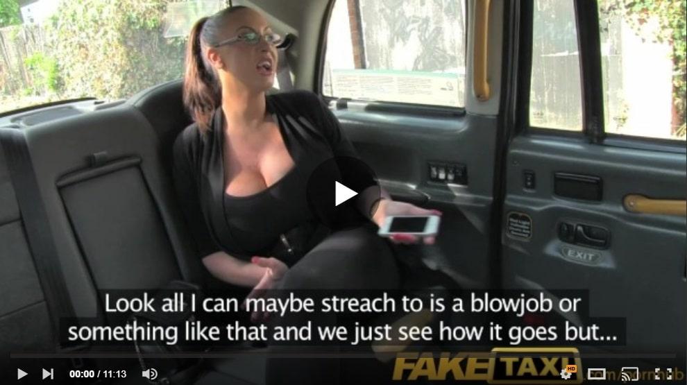 Fake Tit Taxi Passenger Loves Taking Cock