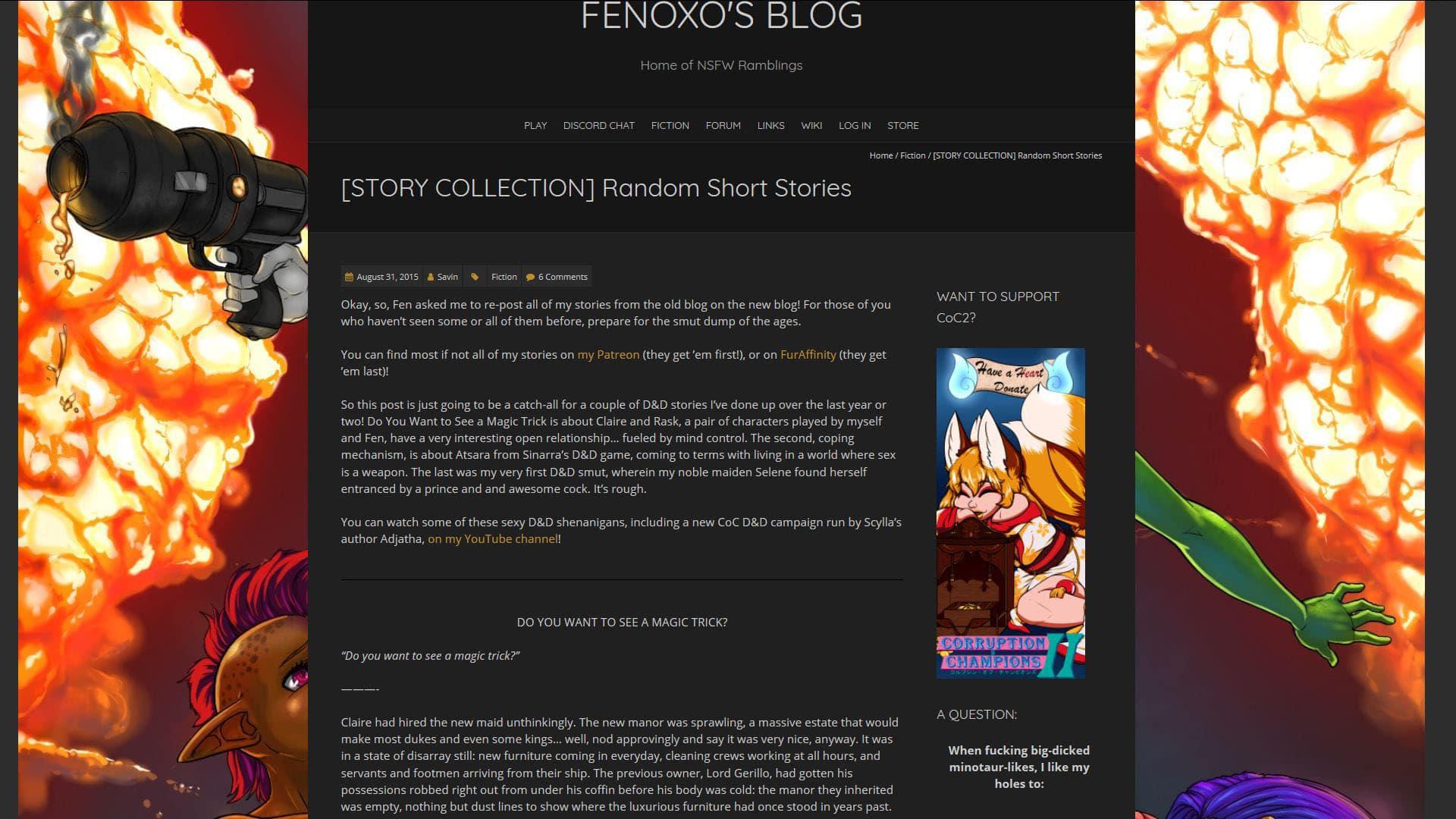 Fenoxo Random Short Game Stories