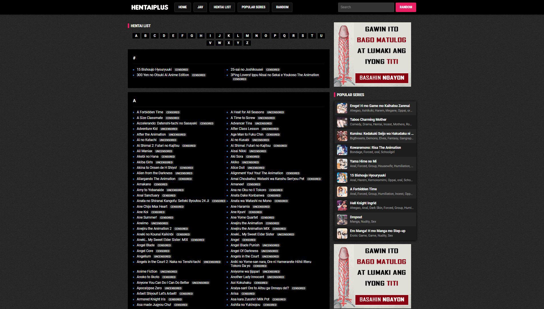 HentaiPlus Hentai List