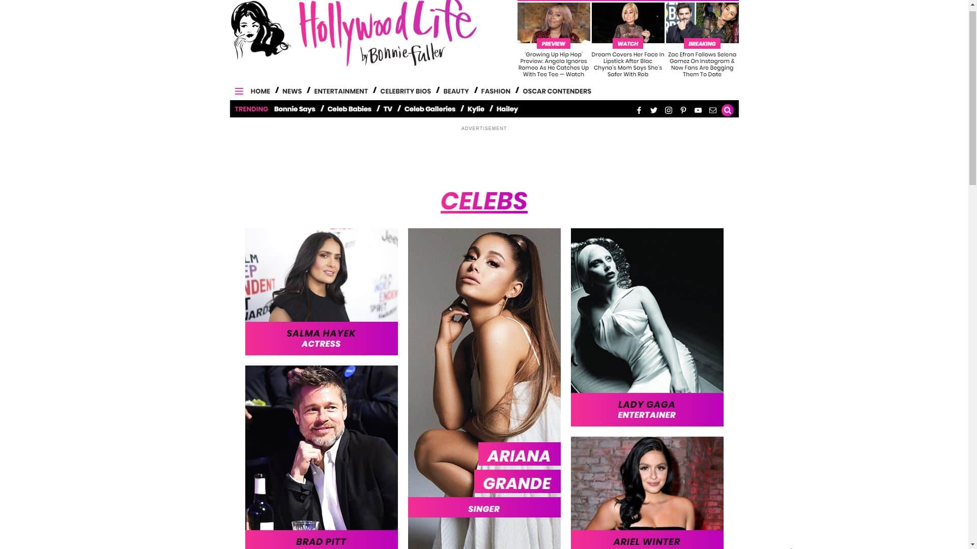Hollywood Life Celebrity Bios