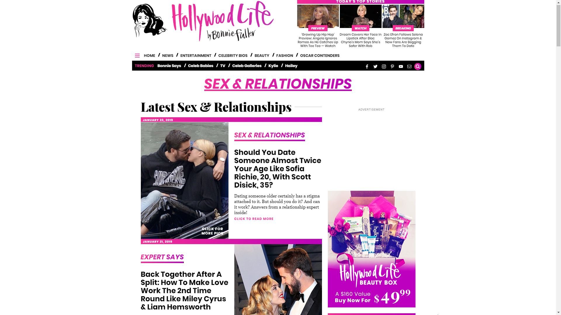 Hollywood Life Sex and Relationship