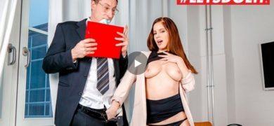 Hot secretary blows and fucks her new boss