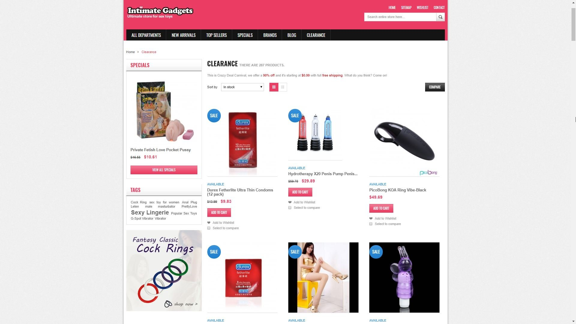 Intimate Gadgets Clearance