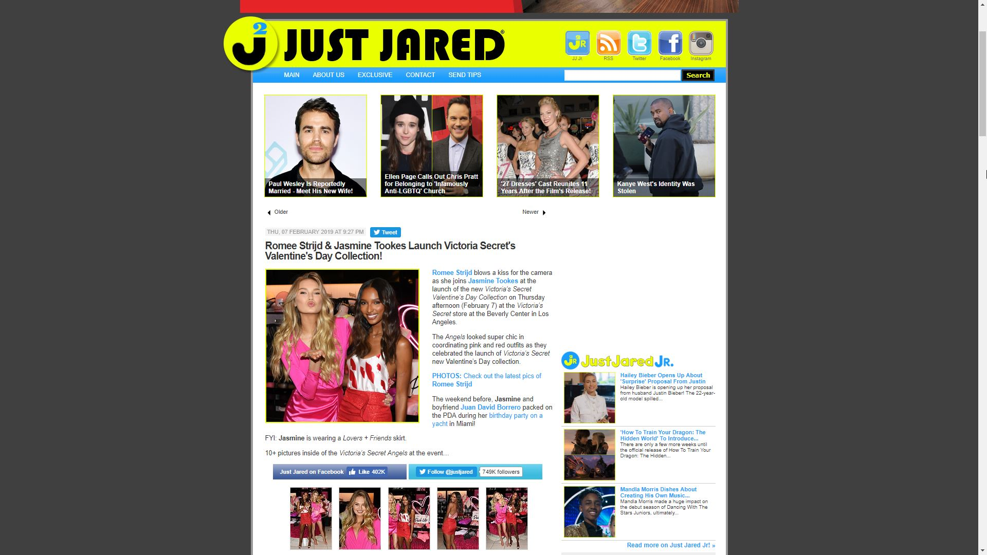 Just Jared Romee StrijdAnd Jasmine Tookes Launch Victoria Secret's Valentine's Day Collection!