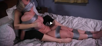 Lesbian with huge tits gets taped up hard