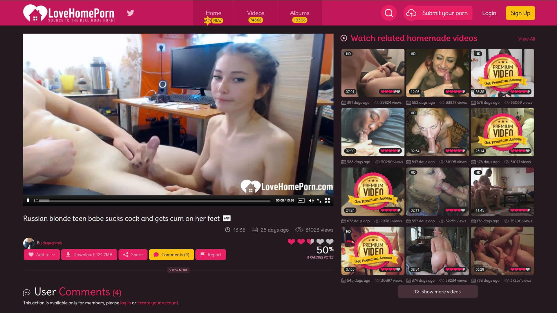 LoveHomePorn Russian Blonde Teen Babe Sucks Cock And Gets Cum On Her Feet