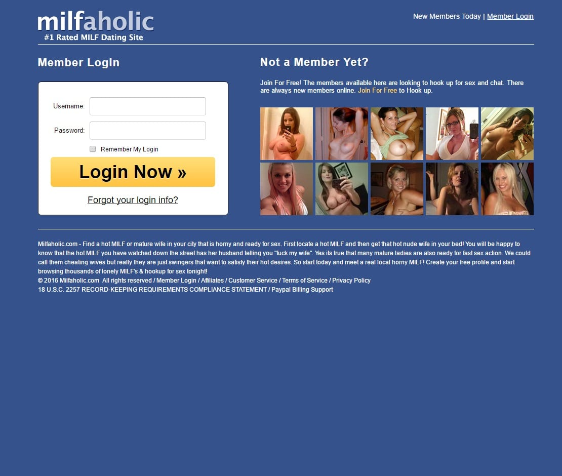 Milfaholic log in