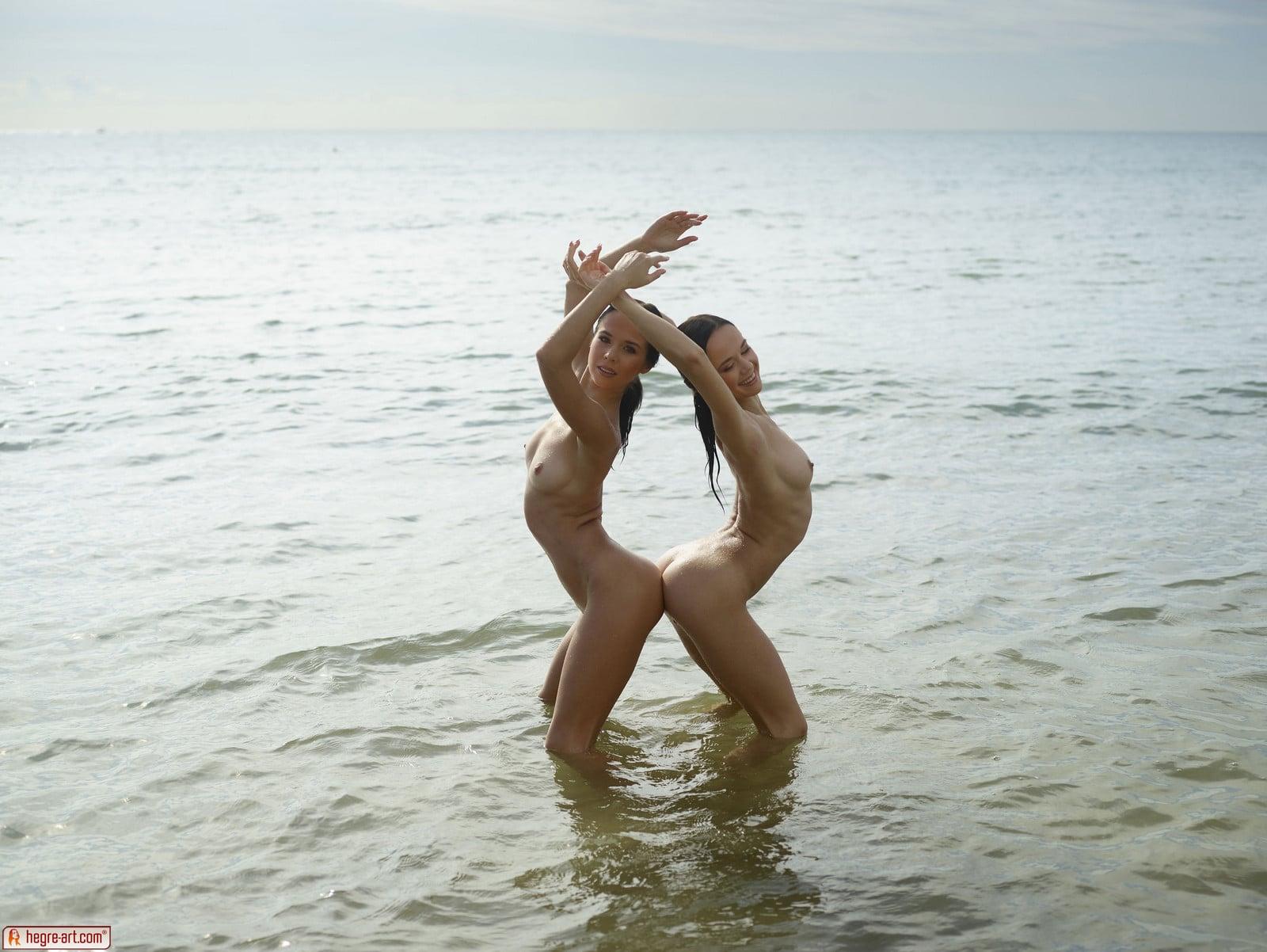 Naked Yoga Goddesses Perform On The Beach 1