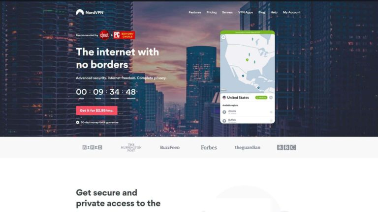 Nord VPN Home Page