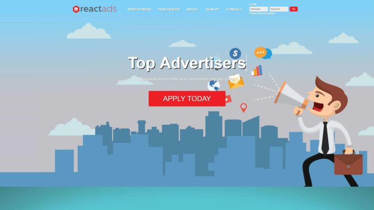 ReactAds Main Page