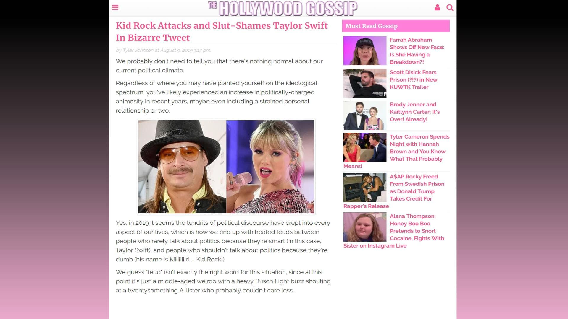 TheHollywoodGossip Kid Rock Attacks And Slut-Shames Taylor Swift In Bizarre Tweet