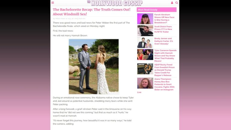 TheHollywoodGossip The Bachelorette Recap: The Truth Comes Out! About Windmill Sex