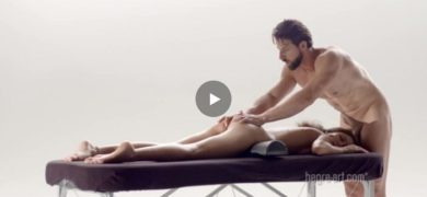 Tight girl gets massaged and drilled doggy style