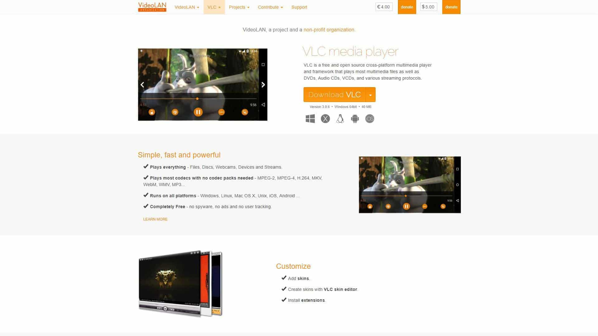 VLC Media Player Home Page