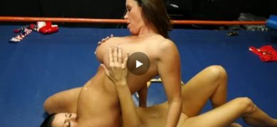 Wrestling match ends with lesbos fucking with strap-on