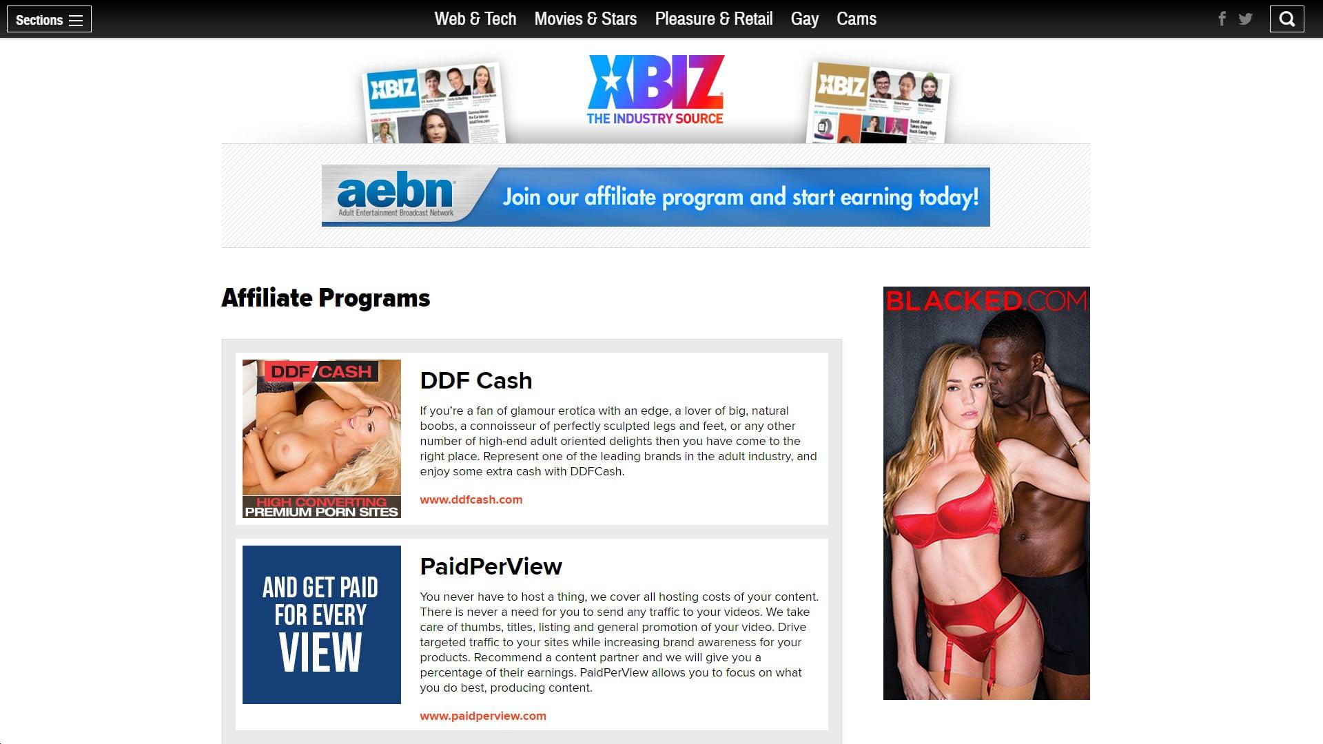 XBIZ Affiliate Programs