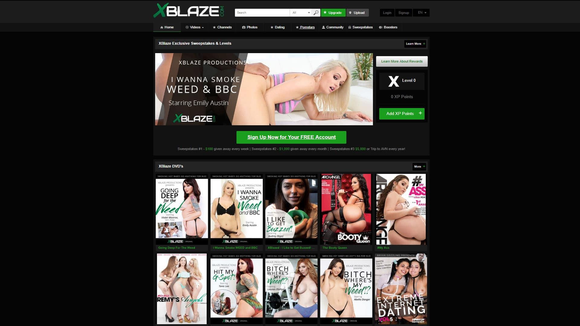 X Blaze Homepage
