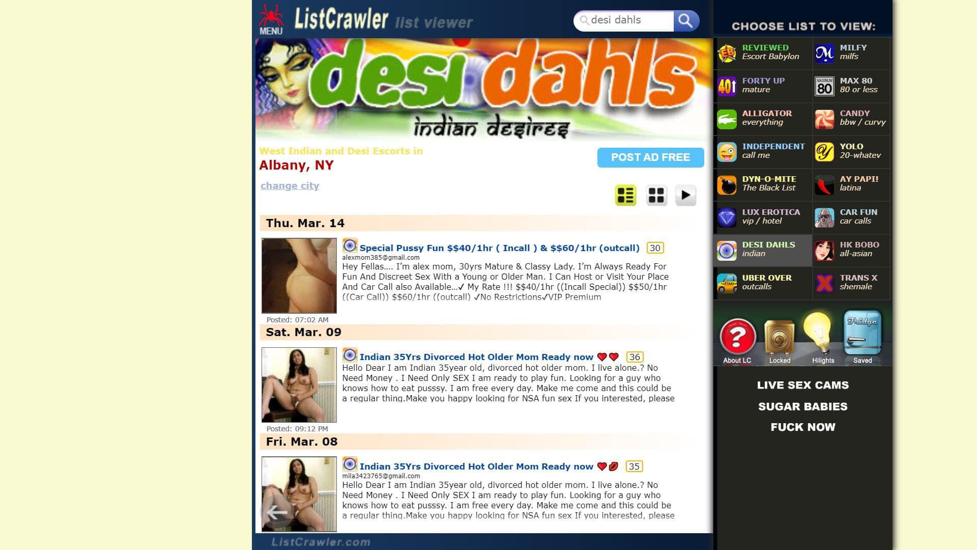 Listcrawler Escorts in Desi Dahls